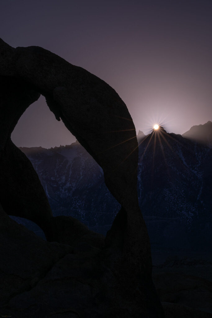 Cyclops arch, sunset on Whitney, Alabama Hills