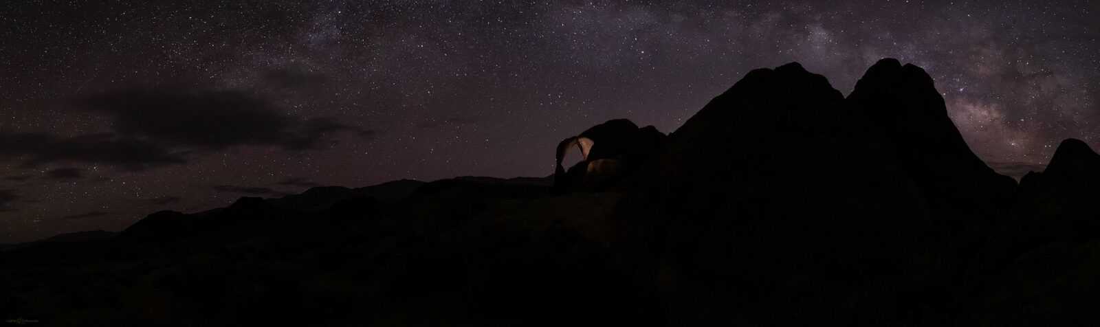 astrophotography at Cyclops Arch, Alabama Hills, California