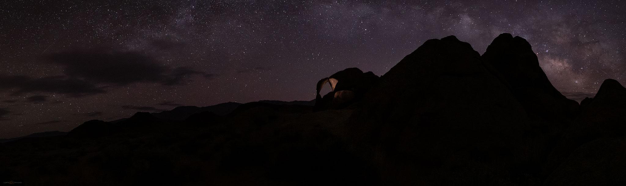 astrophotography at Cyclops Arch, Alabama Hills, California