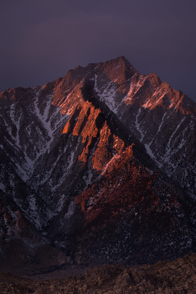 Alpen glow on Lone Pine Peak, Sierra Nevada, Alabama Hills, California