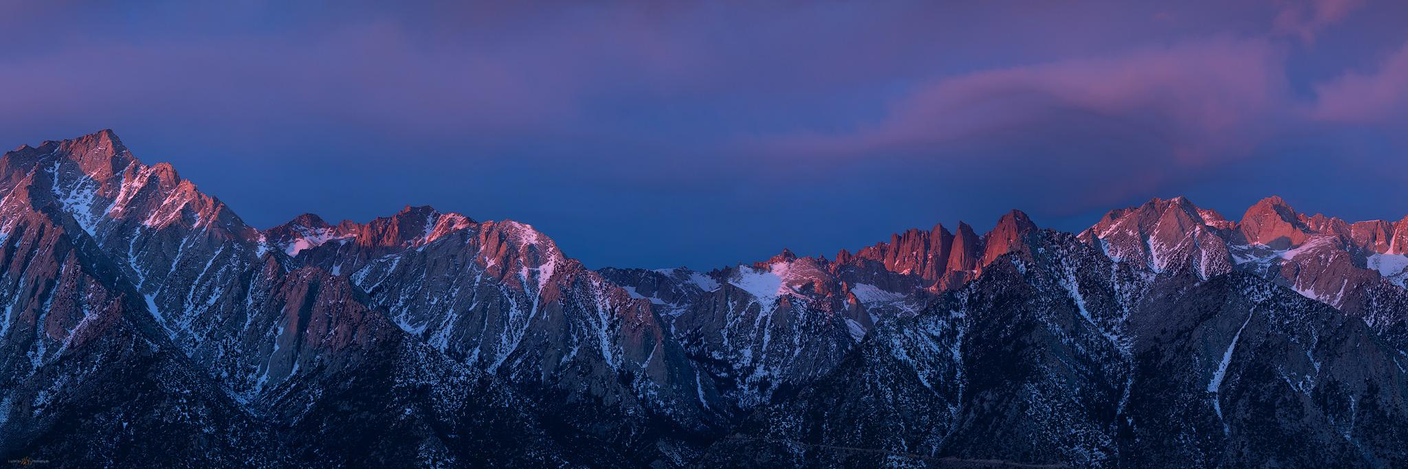 Panorama of the Sierra Nevada at Mount Whitney, Alabama Hills, California